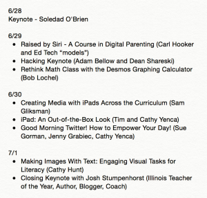 My ISTE 2015 Session Schedule