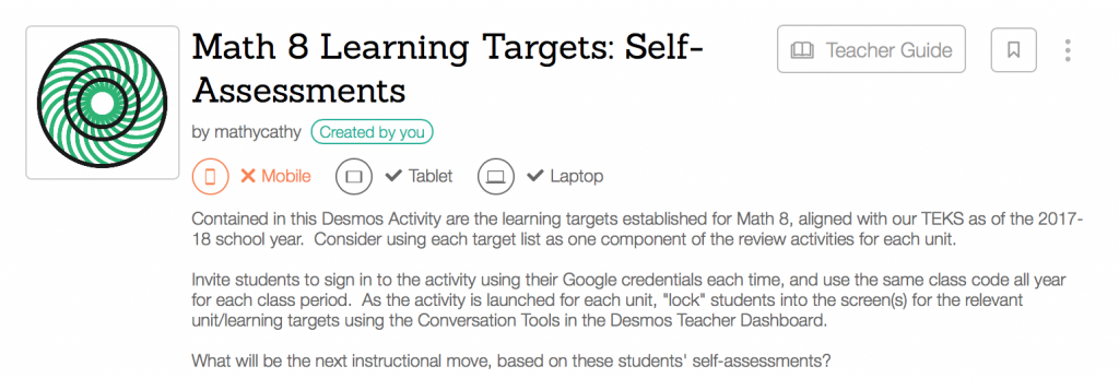 Desmos Learning Target Student Reflections Inspired By A Tweet