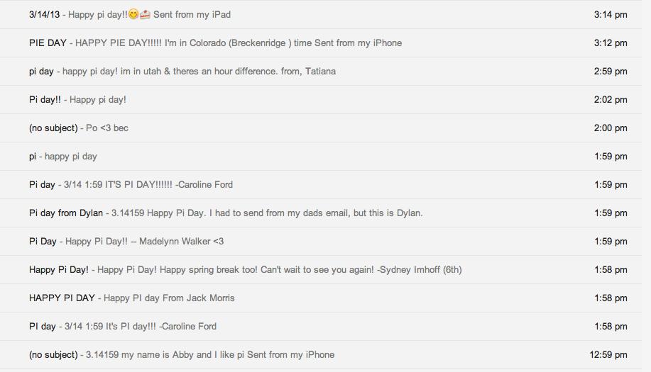 Pi Day Inbox